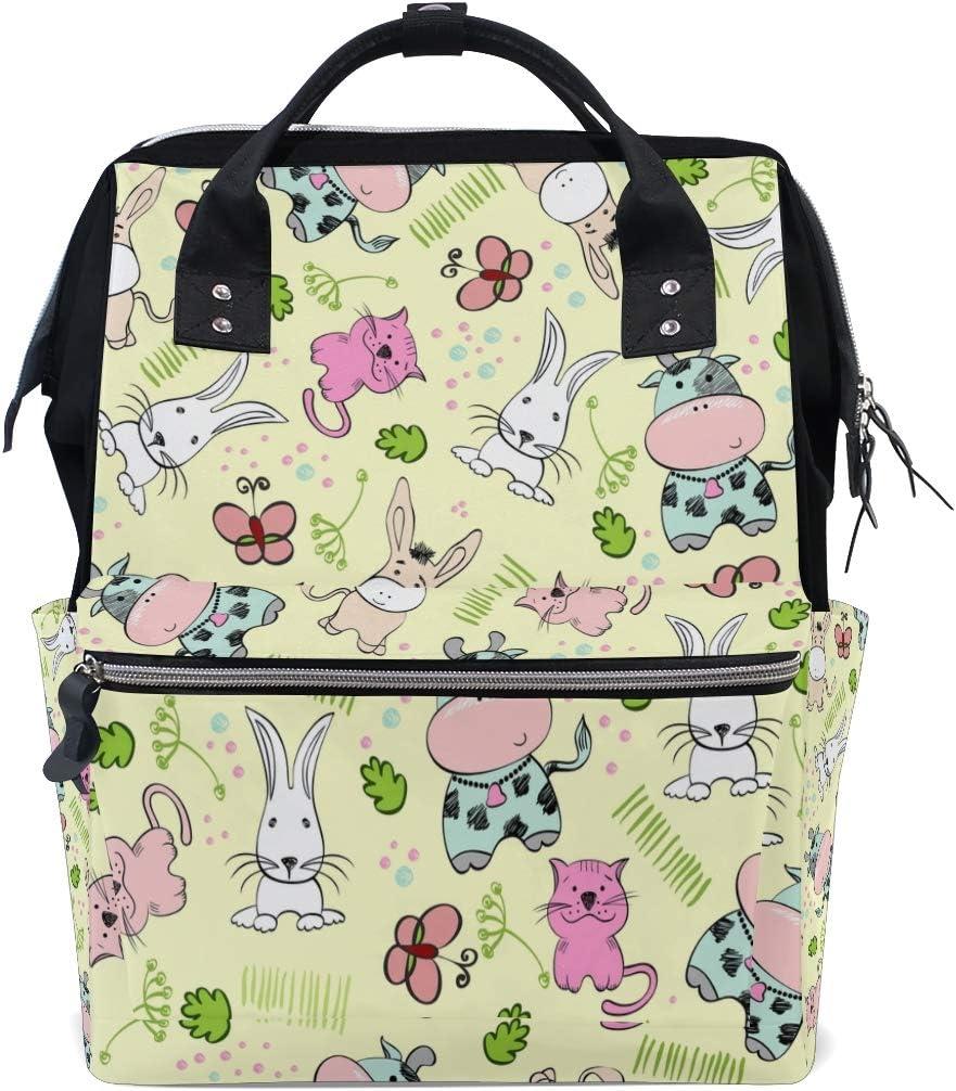 Kawaii Cute Baby Animal Bolsas de pañales de gran capacidad Mamá Mochila Múltiples funciones Bolso de lactancia Bolso Tote Bolso para niños Cuidado de bebés Viajes diarios Mujeres