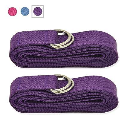 Yoga – Cinturón de Yoga Extra Larga 251 cm – Fabricado con la Mejor Durable algodón – Ajustable Metal Hebilla de D-Ring para Estiramiento flexibilidad ...
