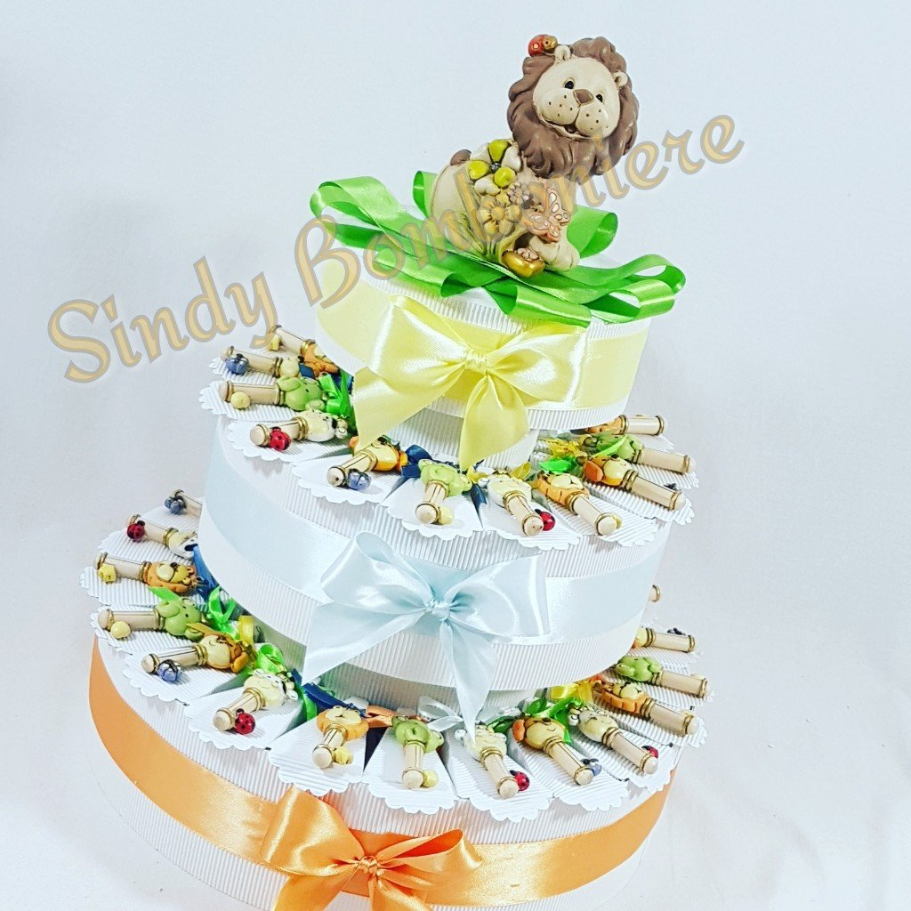 Tarta BOMBONIERA llaves variadas animales león niño cumpleaños
