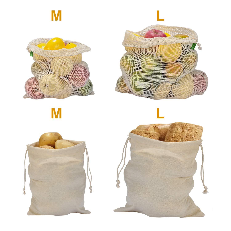 2M et 2L Sacs /à Fruits et L/égumes 100/% COTON BIO Sac /à pain Sac r/éutilisable en Mousseline sans Plastique Z/éro D/échet Lavable L/éger Poids /à Vide Lot de 4