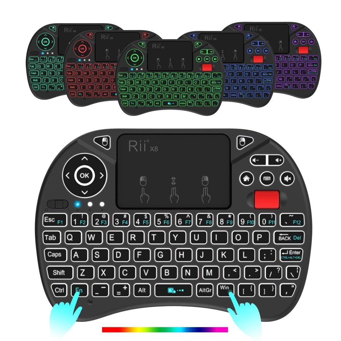 7f830acf705 Amazon.com: QGT Rii X8 RT716 2.4GHz Mini Wireless QWERTY 71 Keys Keyboard, 2.5  inch Touchpad Combo with Backlight(Black): Electronics