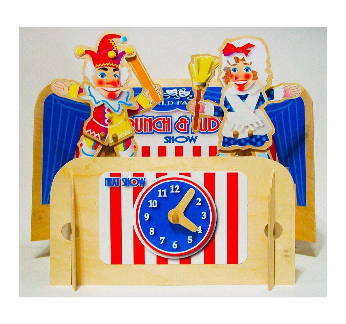 Punch and Judy wooden puppets with table top puppet theater, showtime clock and two metal puppet stands