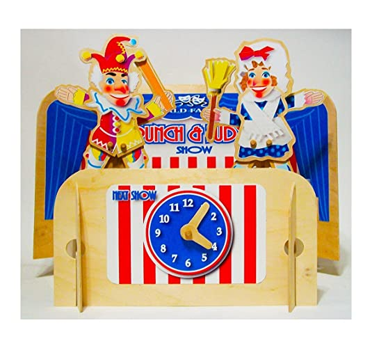 Amazon com: Punch and Judy wooden puppets with table top puppet