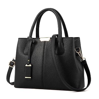 Covelin Women s Top-handle Cross Body Handbag Middle Size Purse Durable  Leather Tote Bag Black 3773401d8824c