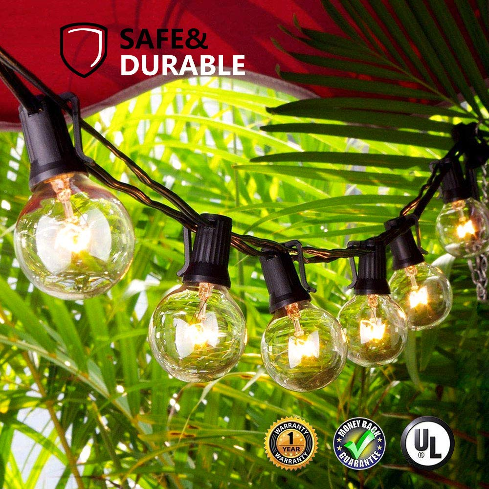 Guddl Globe String Lights G40 UL Listed for Indoor/Outdoor Commercial Decor 50Ft with 55 Clear Bulbs Outdoor String Lights Perfect for Decks Tents Bistro Backyards Patios Parties Umbrellas Wedding DIY