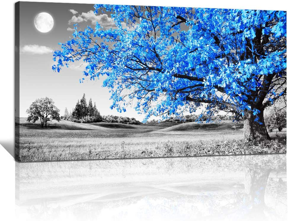 large wall art for living room Blue moon tree landscape Abstract painting office bedroom Wall Decor 30