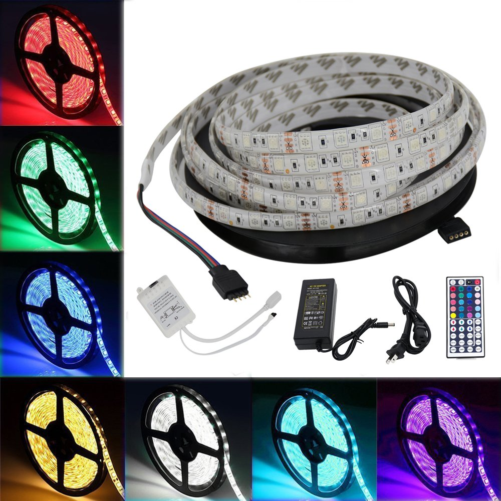 Jesled Led Light Strip Waterproof 164ft Smd 5050 Lights As Well Rgb Wiring Diagram On 300leds 12v Dc Flexible Strips Tape Kit With 44key Remote