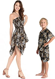 Matching Mother Son Hawaiian Luau Outfit Dress Shirt in Leaves in 2 Colors
