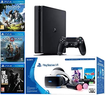 Amazon Com 2019 Playstation 4 Slim Ps4 1tb Console Playstation Vr Headset Playstation Camera Playstation Vr Move Controllers 5 Games Bundle Computers Accessories