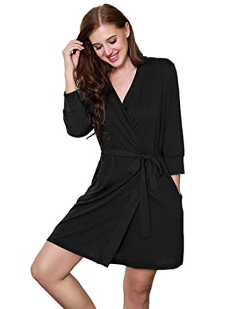 11845bf673 MAXMODA Women Sleepwear Soft Cotton Bathrobe Lightweight Lounge Robe Black S