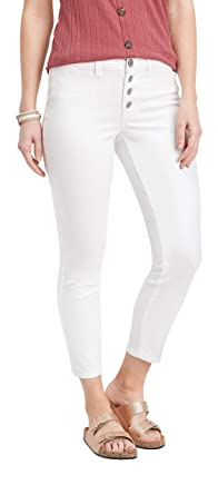 7abd7e7c59 maurices Women's Denimflex TM White High Rise Button Fly Ankle Jegging X  Small White