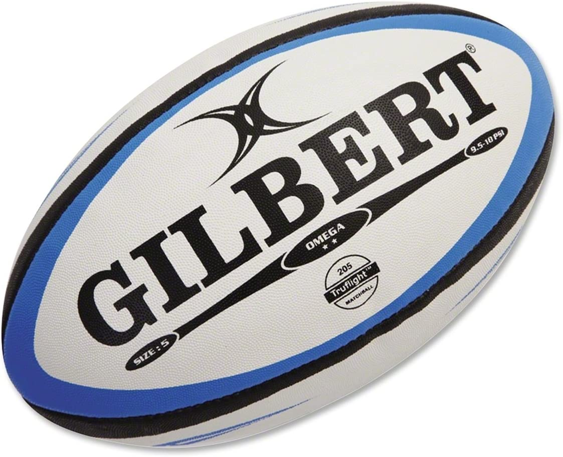 GILBERT Omega Rugby Match Ball, Blue/Black, 5
