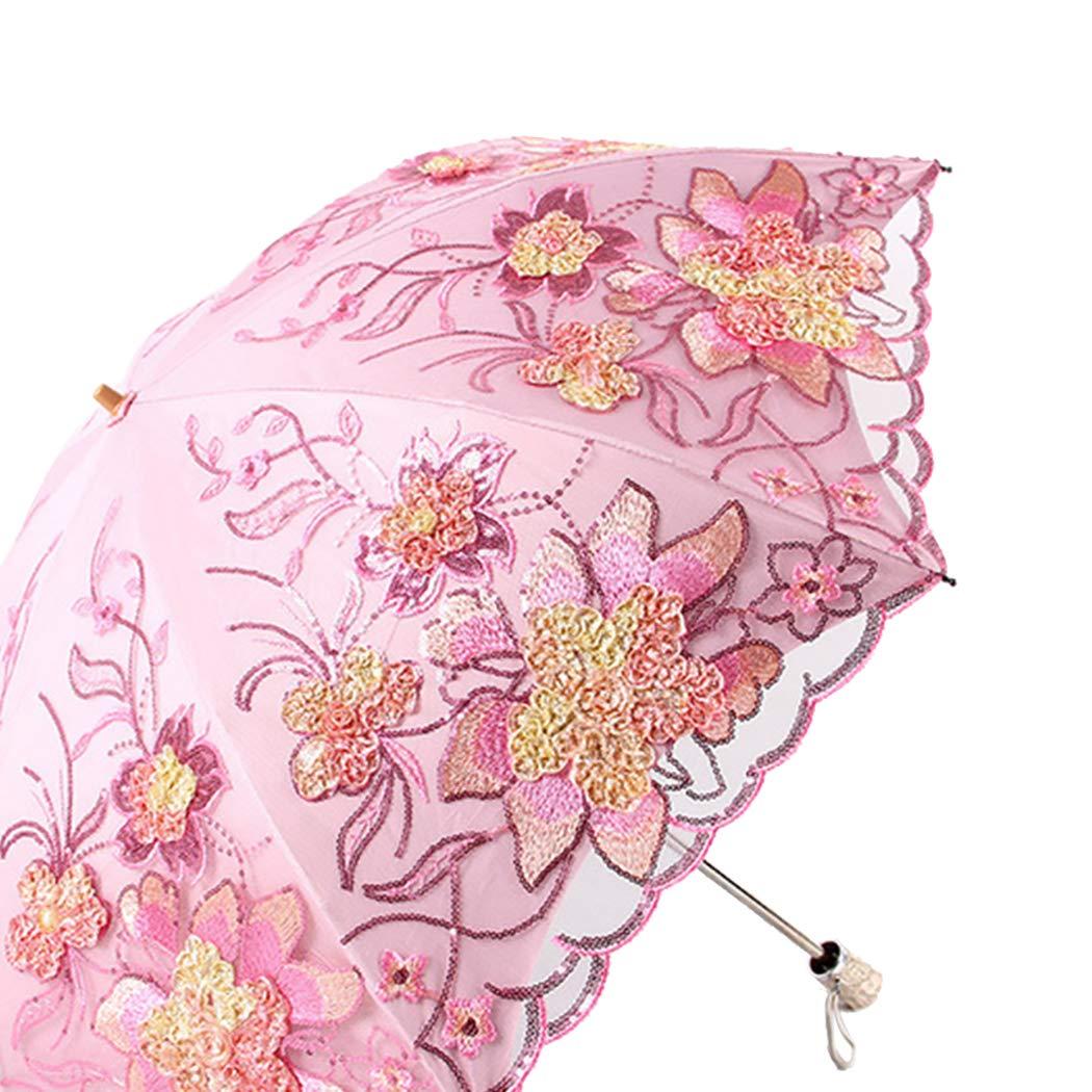 JUSTDOLIFE Ombrelle Anti UV Couche Double Dentelle Brod/ée Parapluie Pluie pour Voyage