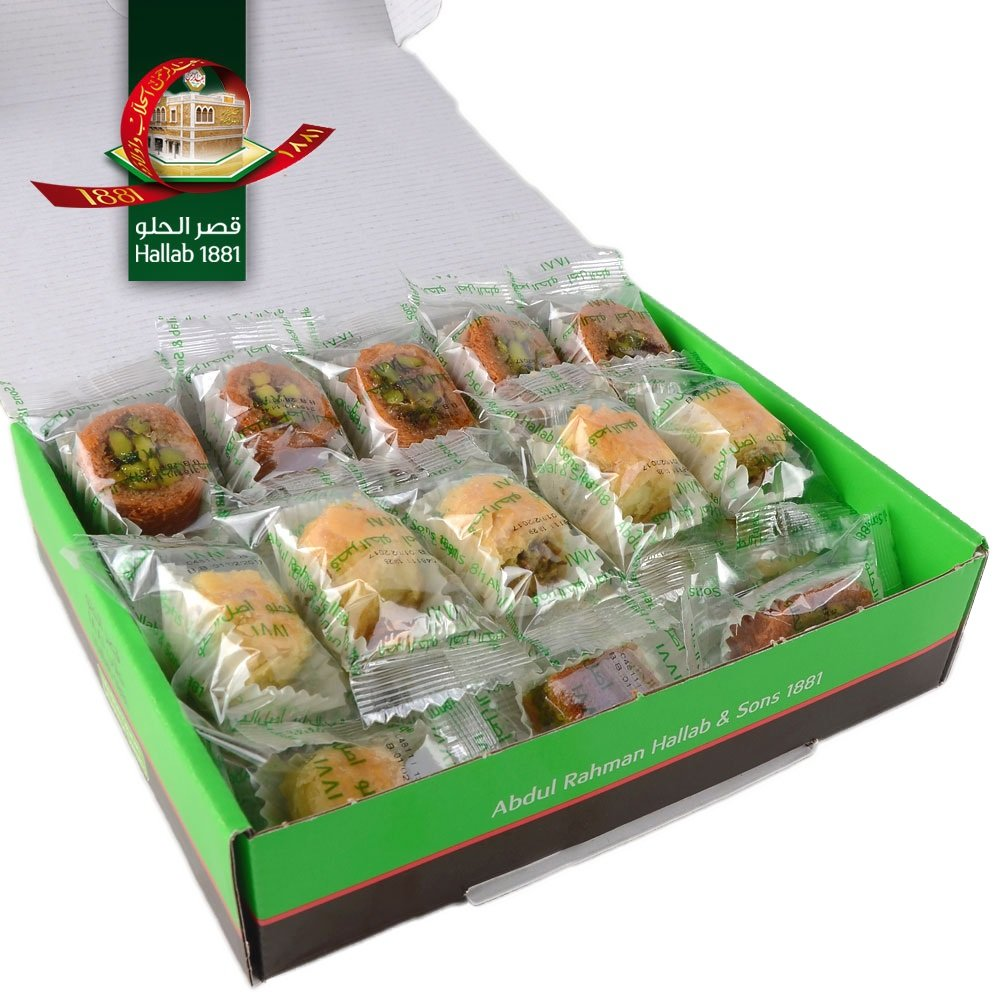 Assorted Baklava Sweets w/Pistachio (20 Oz) : 23-25 Pcs small cut - Imported Fresh from Lebanon - THE ORIGINAL Recipe From Middle East - Assorted Baklava Pastry Pistachios (20 Oz) by Hallab 1881 (Image #1)