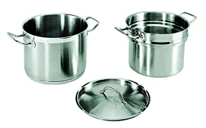 Update International 20 Qt Induction Ready Stainless Steel Double Boiler w/Cover