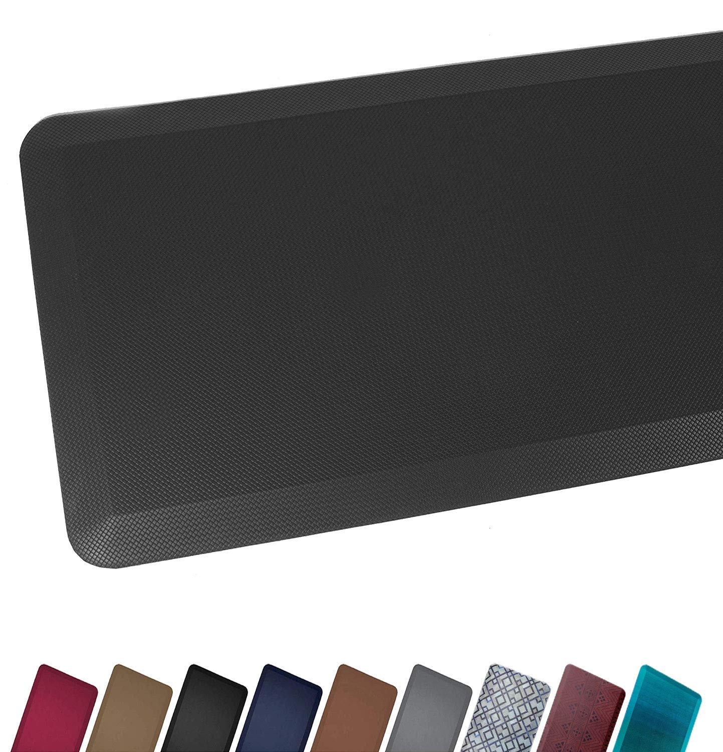 Anti Fatigue Comfort Floor Mat By Sky Mats -Commercial Grade Quality Perfect for Standup Desks, Kitchens, and Garages - Relieves Foot, Knee, and Back Pain (20x39 (10 Pack), Midnight Black) by Sky Solutions