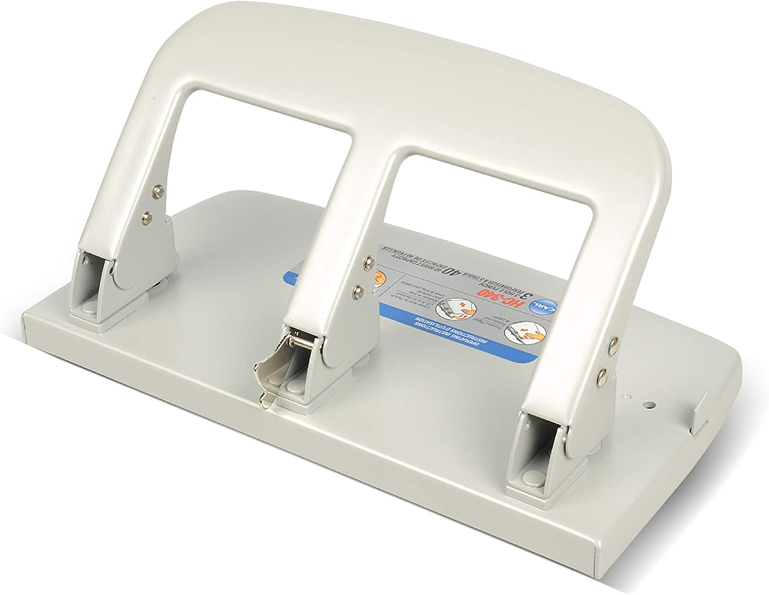 CARL, Medium-Duty 3 Hole Paper Punch, 40 Sheet Punch Capacity, Metallic, Model:HC-340 : Paper Punches : Office Products
