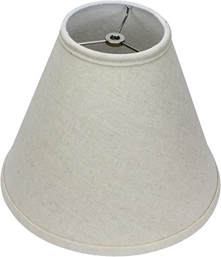 FenchelShades.com Lampshade 5 Top Diameter x 12 Bottom Diameter x 10 Slant Height with Washer Spider Attachment for Lamps with a Harp Couture Natural