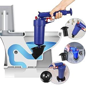 Thinvik Power Toilet Plunger Set Drain Clog Remover Tool Drain Snake Tub Drain Cleaner Opener Air Drain Blaster Gun Bellows Plunger for Sink Bath Toilets Bathroom Shower Kitchen Clogged Pipe Bathtub