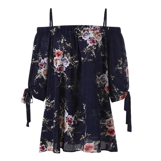 ❤ Blusa de Hombro Fría para Mujer,Moda para Mujer Plus Size Estampado Floral Blusa de Hombro Frío Tops Casuales Camis Absolute: Amazon.es: Ropa y ...
