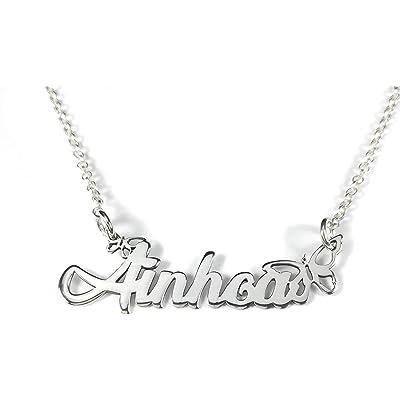 Collar con nombre personalizado aros forma Mariposas en plata de ley 925.-RINCONDELARTESANO.ES