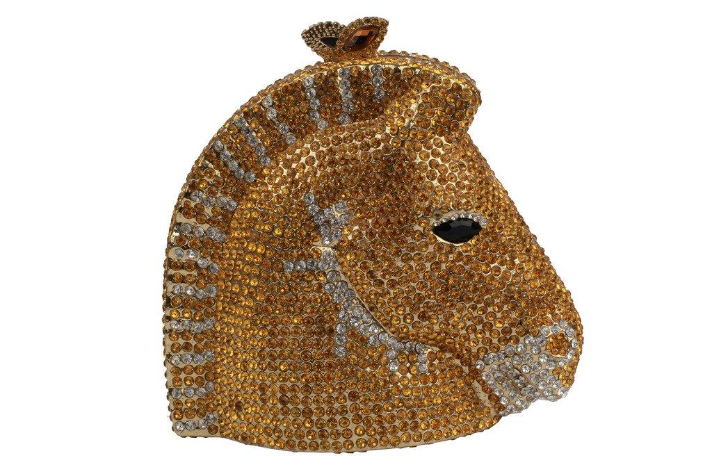 YILONGSHENG Horsehead Style Women Prom Bags With Crystal EB0627 Gold by YILONGSHENG