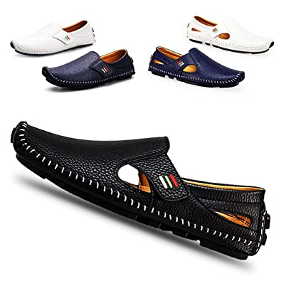 7a43df31fd2 Men s Penny Loafers Driving Shoes Casual Leather Stitched Loafer Shoes(Black  ...