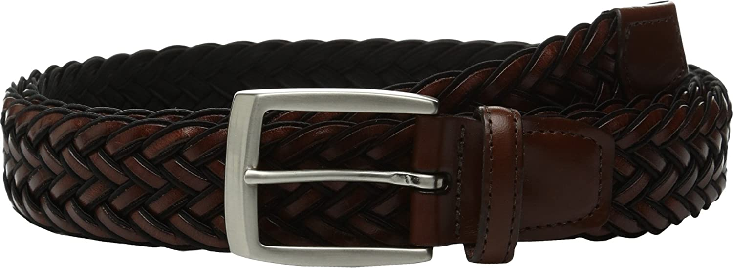 Torino Leather Co Mens 35mm Italian Braided Rayon with Calf Inlay Black//Brown Belt 40