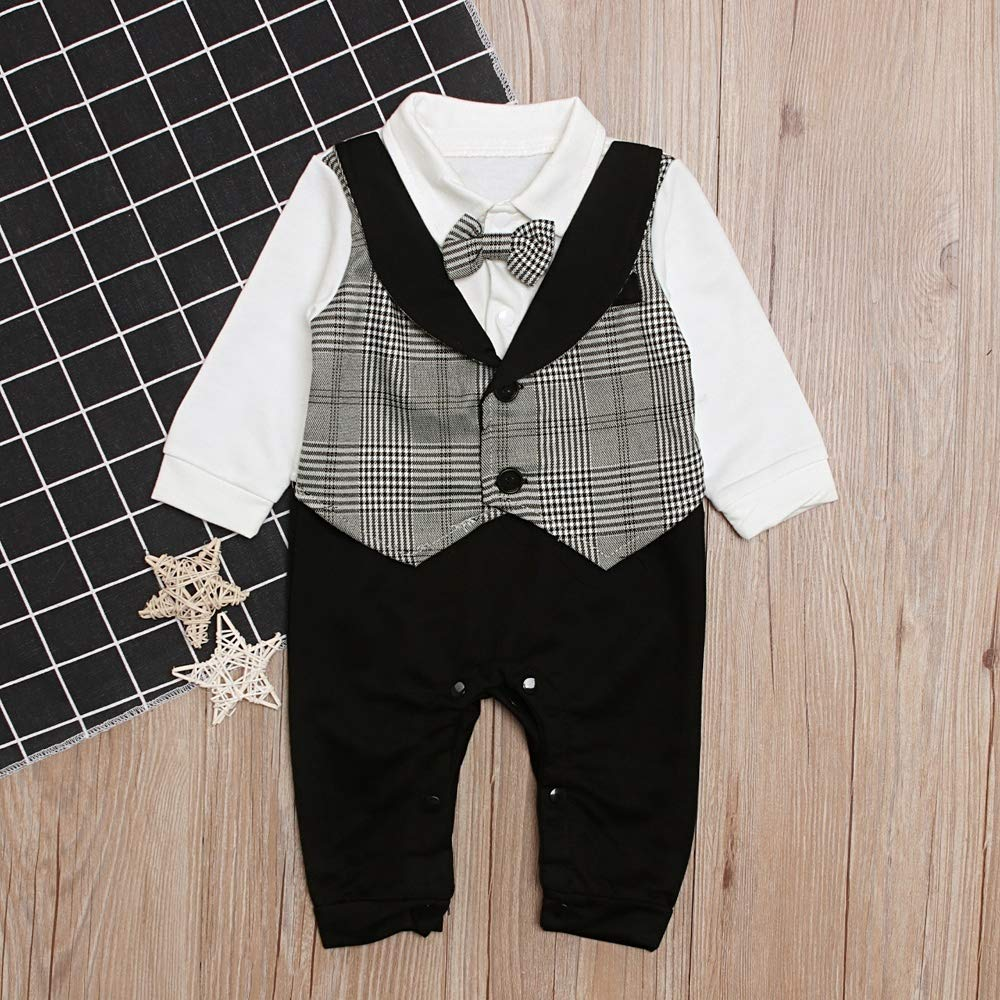 Light Grey,6-12month wuwei 2 Colors Baby Boy Romper False Two Suit Gentleman Style Clothe with Bow Tie for 0-24 Months