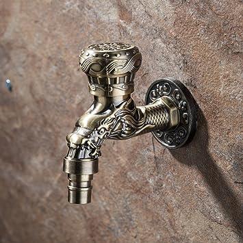 Geschnitzte Antike Bronze Zink Legierung Wand Wasserhahn, Wasserhahn  Waschmaschine Wasserhahn Kleine Wasserhahn Dekoration Garten