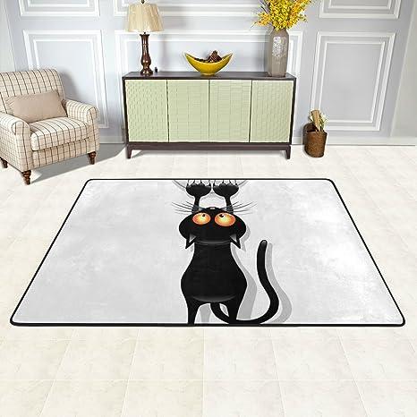 ISAOA Alfombra Gatos con Dibujos Animados, Moderna, cómoda, 3 x 2 pies,