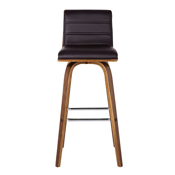 "Armen Living LCVIBABRWA30 Vienna 30"" Bar Height Barstool in Brown Faux Leather and Walnut Wood Finish"