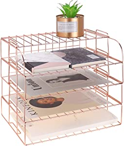 LEORISO 4-Tier Stackable Letter Tray, Rose Gold Desk Organizer, Metal File Organizer Tray, Paper Holder Rack, Desk Accessories for School Home Office Supplies