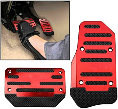 Universal 2 PCS Red Non-Slip Automatic Car Gas Brake Pedal Cover Pad Metal Plastic Car Gas Brake Foot Pedal Pad Cover Accelerator Red