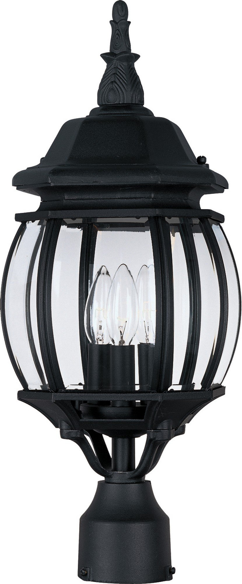 Maxim 1035BK Crown Hill 3-Light Outdoor Pole/Post Lantern, Black Finish, Clear Glass, CA Incandescent Incandescent Bulb , 60W Max., Dry Safety Rating, Standard Dimmable, Fabric Shade Material, Rated Lumens