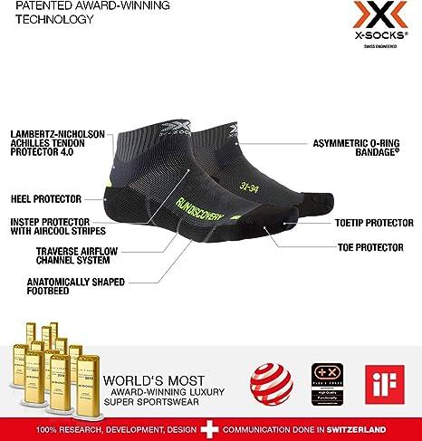 Socks Calze Calza Calzini Unisex Bambini X-Socks Run Discovery Junior 27//30 Charcoal//Phyton Yellow//Black