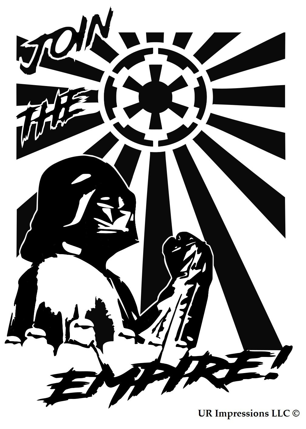 BLK Darth Vader Storm Troopers Join The Empire – Galactic Empire Rising Sun Flag Star Wars Inspiredデカールビニールsticker|cars Trucks壁laptop|black|7.5 X 5.5 in|uri464   B076HSL7XP
