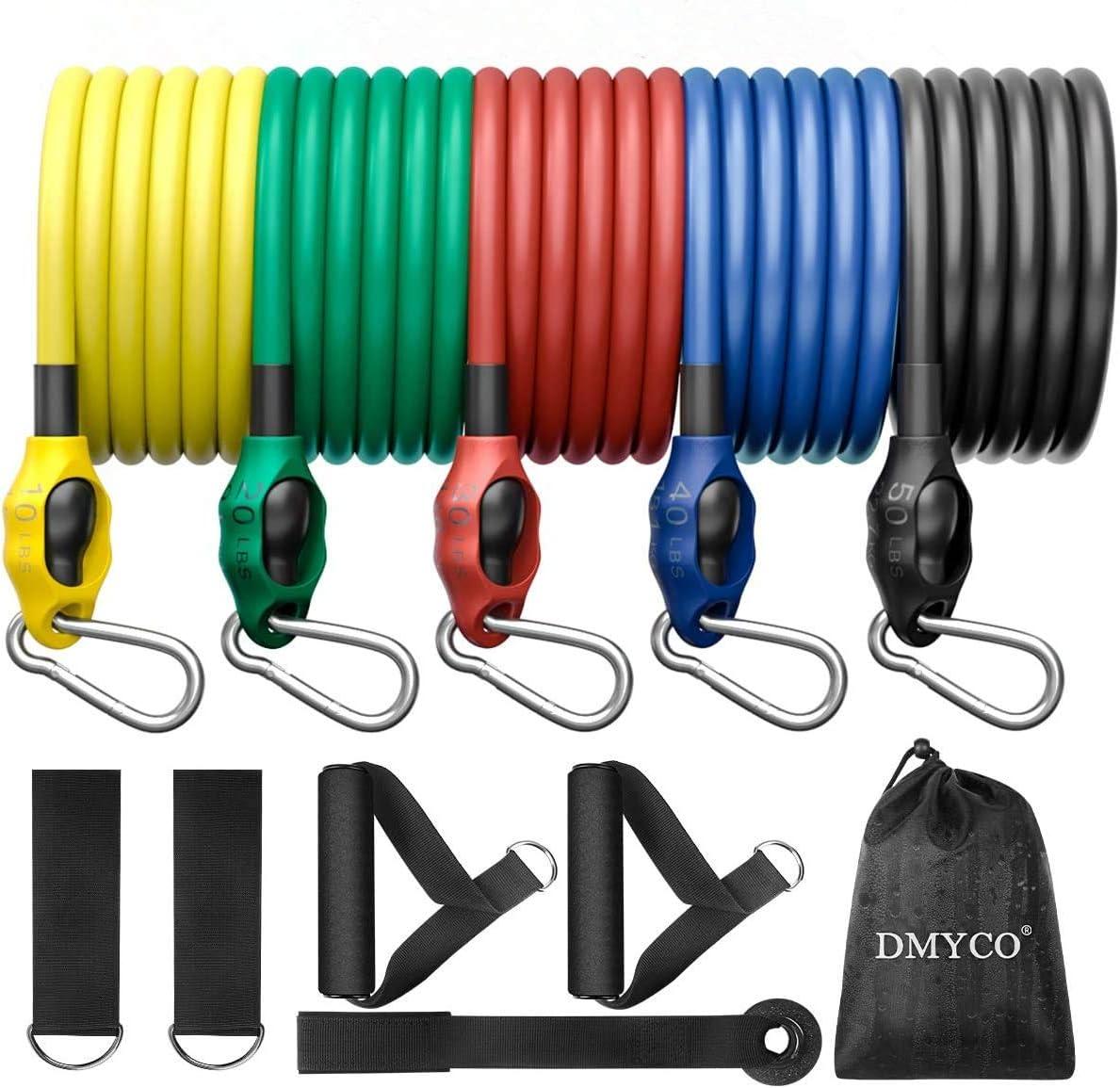 DMYCO Juego de bandas de resistencia para ejercicios, bandas elásticas de entrenamiento, apilables hasta 150 libras para hombres y mujeres en casa, ...