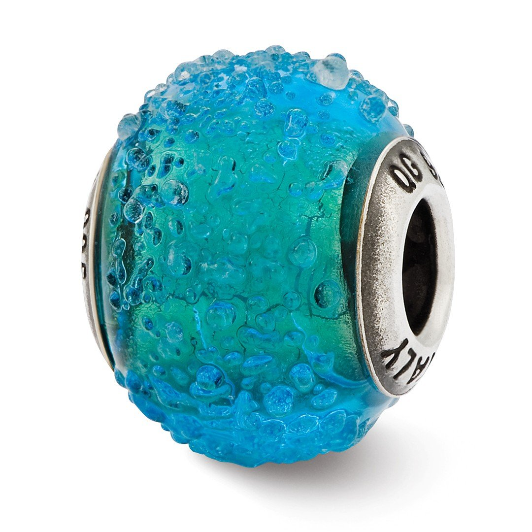 ICE CARATS 925 Sterling Silver Charm For Bracelet Italian Blue Green Textured Glass Bead Glas Murano Fine Jewelry Ideal Gifts For Women Gift Set From Heart