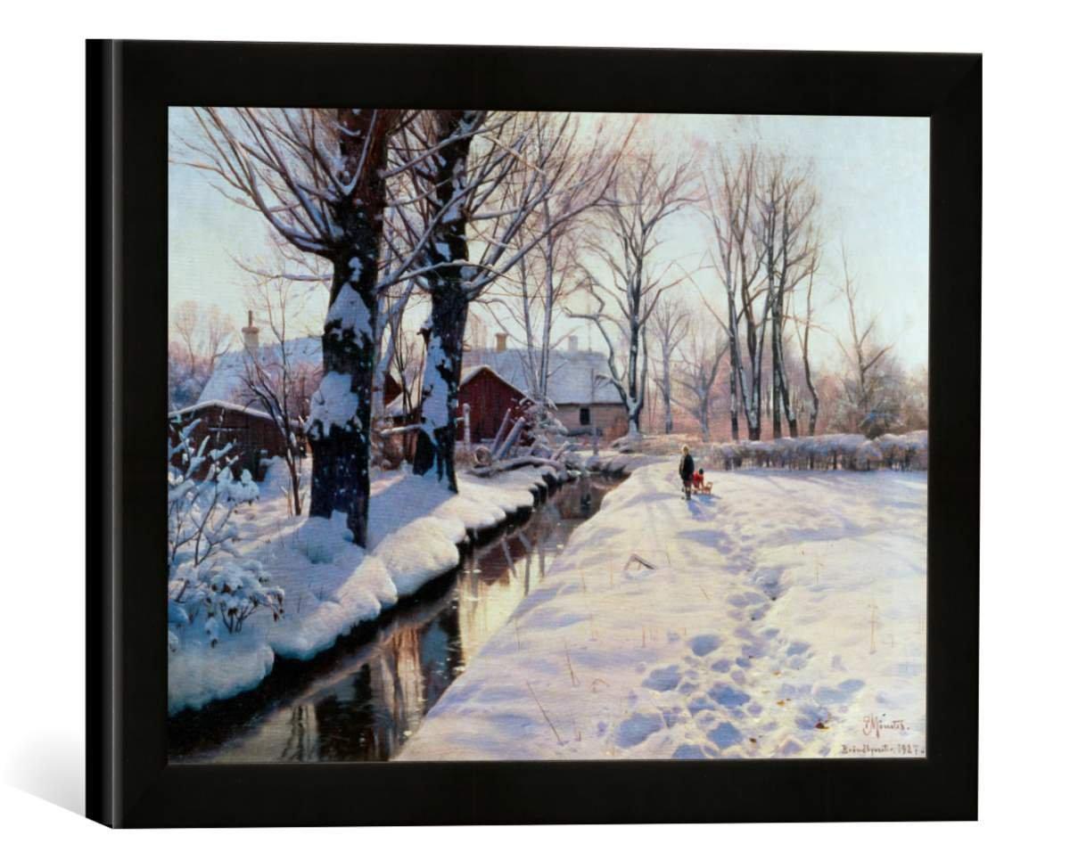 Gerahmtes Bild von Peder Moensted Winterlandschaft bei Broendbyvester, Kunstdruck im hochwertigen handgefertigten Bilder-Rahmen, 40x30 cm, Schwarz matt