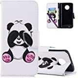 COTDINFORCA Case for Moto G6 Leather Elegant Ultra Slim & Thin Fit Magnetic Flip Case Cover with Card Slots Premium Protective Accessory for Motorola Moto G6 / Moto G (6th Gen). PU - Cute Panda