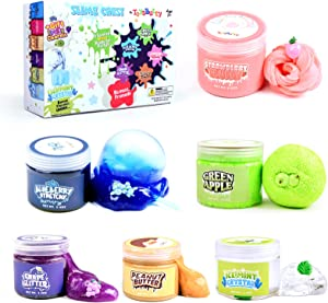 FINOCLAY Slime Kit for Girls Boys, 6 Different Scented & Premade Slimes in 28 oz Containers with Fruit Charms, Fluffy, Glitter, Butter, Free Bonus Clear Crystal Slime, Art & Crafts Gift for Kids