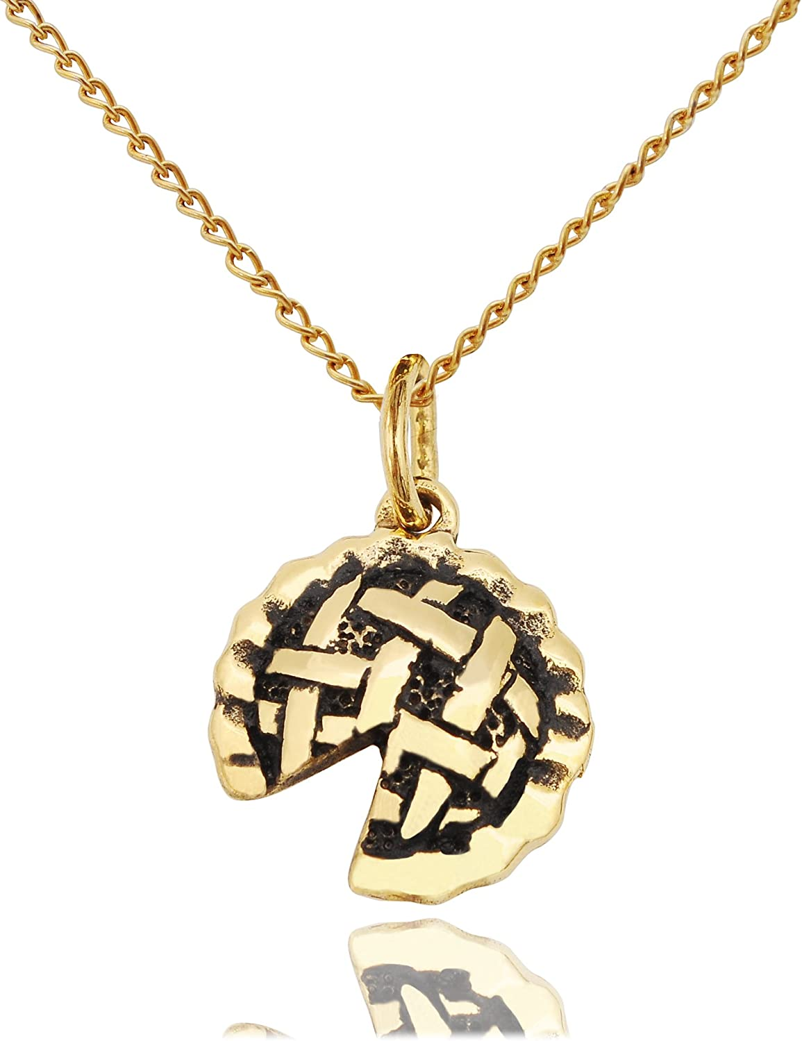 Vietguild Apple Pie Cake Pewter Silver Brass Gold Charm Necklace Pendant Jewelry