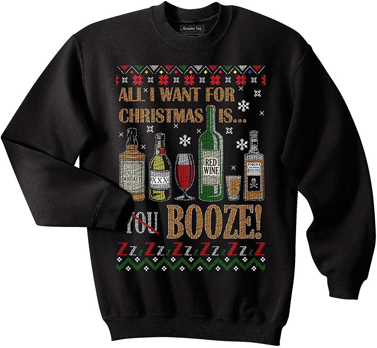 Conspiracy Tee Drinks Ugly Christmas Sweater, Booze, Alcohol, Drunk, Funny, Meme, Beer, Whiskey