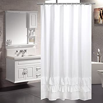 Fabric Shower Curtain White Aoohome Extra Long 72 X 78 Inch Liner Ruffled