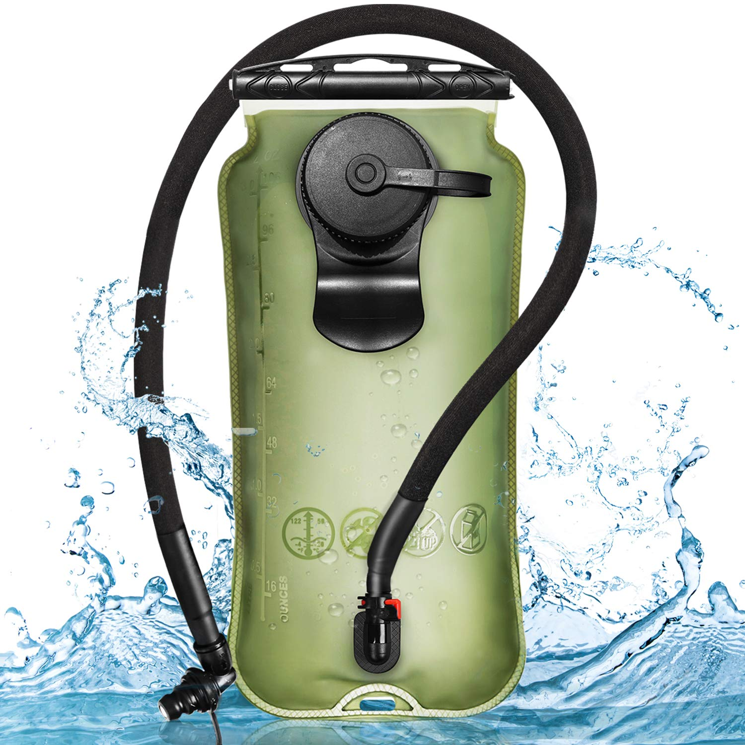Leader Accessories Hydration Bladder Green 3 Liter Water Reservoir Water Bladder Hydration Pack Bladder FDA Approved Tasteless and BPA-Free TPU Material Large Opening Quick Release Tube (3L) by Leader Accessories