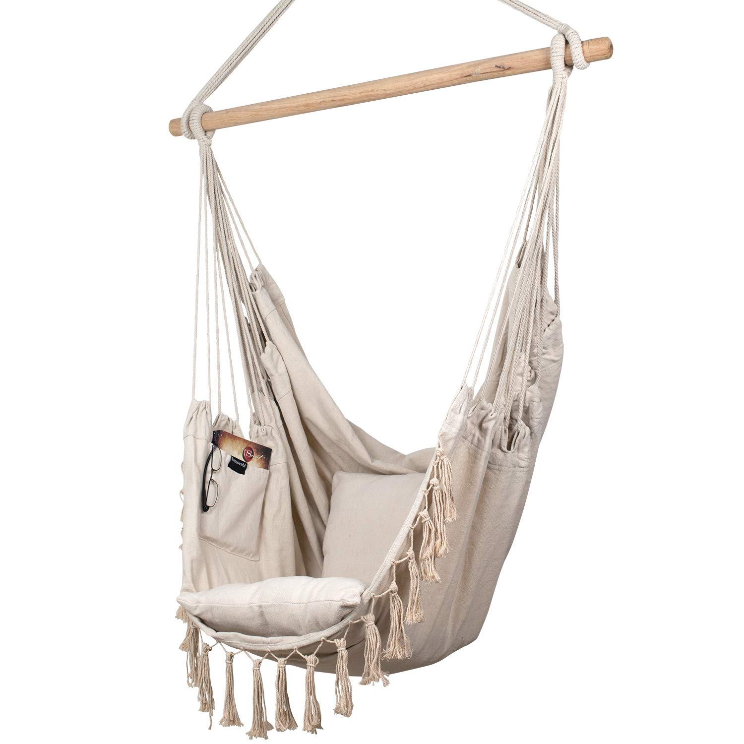 Komorebi Hammock Chair Hanging Rope Swing Seat for Indoor Outdoor Soft Durable Cotton Canvas 2 Cushions Included Large Reading Chair with Pocket for Bedroom, Patio, Porch Ivory