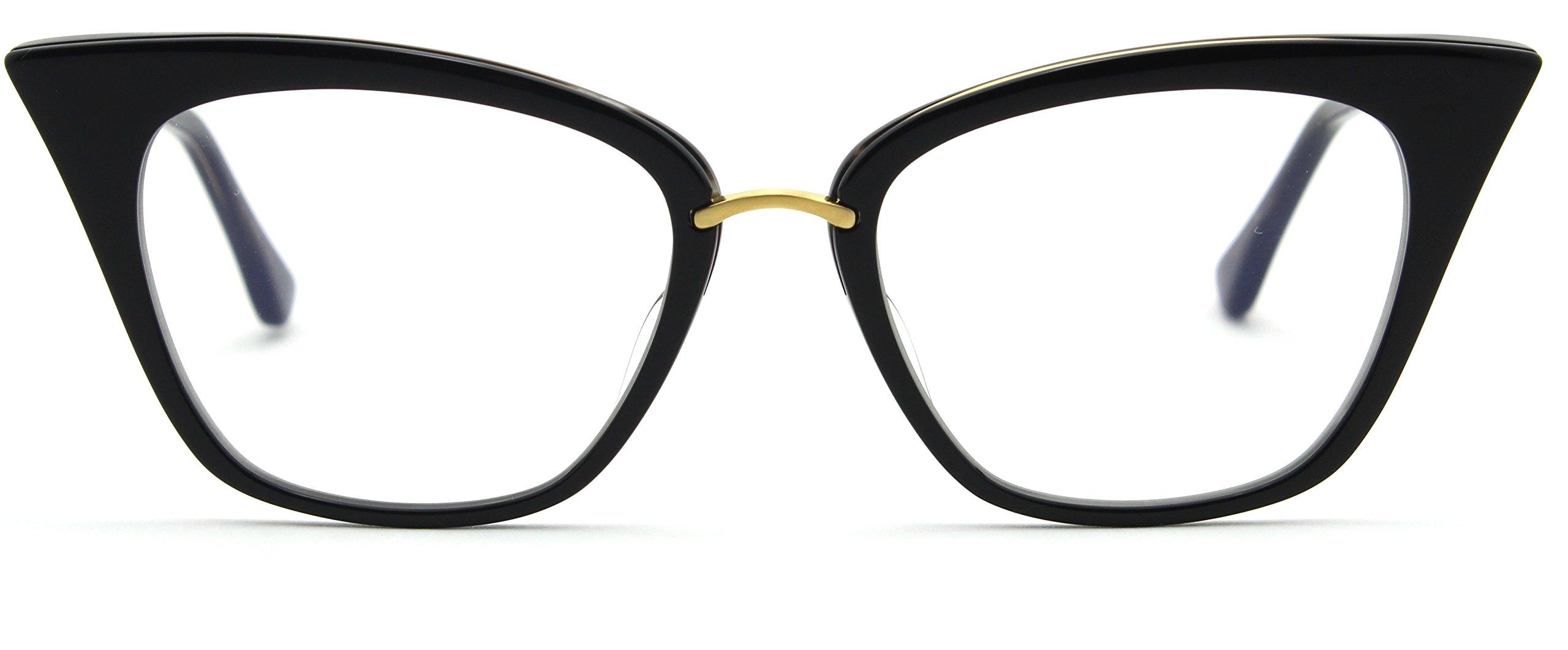 Dita DRX-3031 REBELLA Women Eyeglasses Cat-Eye Gold Frame (Black 18K Gold (A), 51)