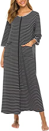 Bloggerlove Robes for Women Nightgown Zip House Coat with Pockets Long Striped Sleepwear S-XXL
