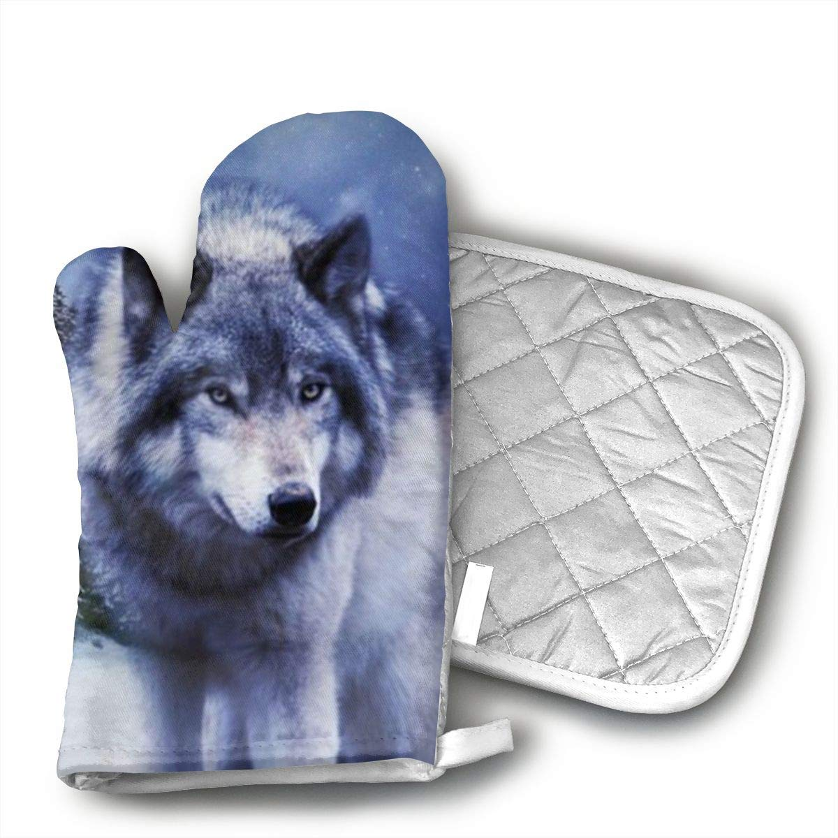 Jiqnajn6 Wolf Oven Mitts,Heat Resistant Oven Gloves, Safe Cooking Baking, Grilling, Barbecue, Machine Washable,Pot Holders.